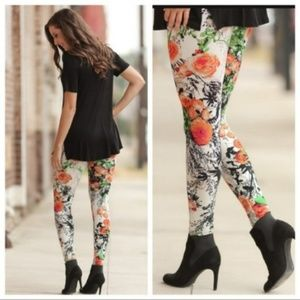 Last One! Floral Print Comfortable Leggings, NWOT